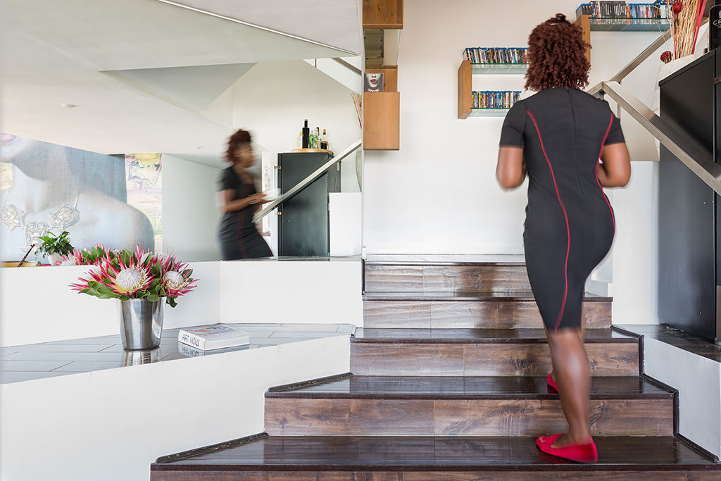 African Walnut flooring on a stairwell