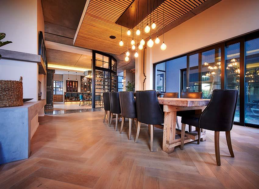 Wooden flooring in an open plan dinning area